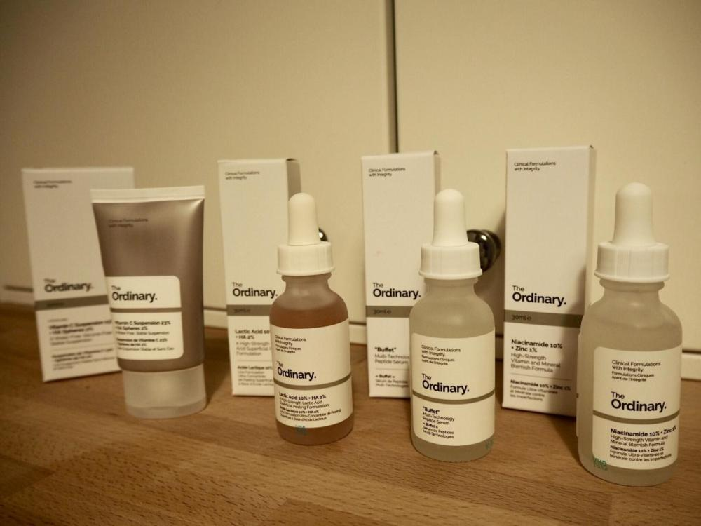 The Ordinary Skincare Acne and Aging Skin Regime packaging- 3 glass bottles and a tube