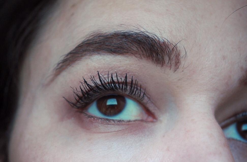 Benefit Bad Gal Bang Mascara Review- After Two Coats close up of eye