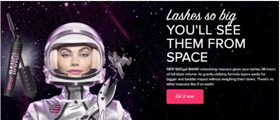Benefit Bad Gal Bang Mascara Review- Advert with space girl