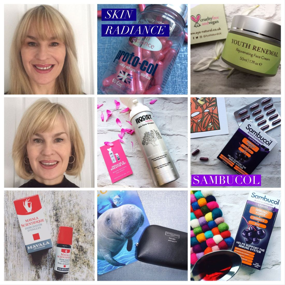 9 picture grid, photos of Proto-col skin radiance.,Aya Natural Youth renewal cream. Boots Beauty Oxygen. Sambucol capsules and syrup. White Company amenity kit. Mavala Nail care, manatee, Picture of Emily
