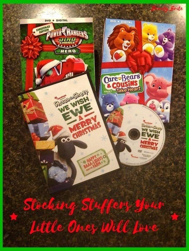 Stocking Stuffers Your Little Ones Will Love - DVDs-Shaun the Sheep We Wish Ewe A Merry Christmas-Power Rangers Dino Charge Hero-Care Bears and Cousins Take Heart Volume 1