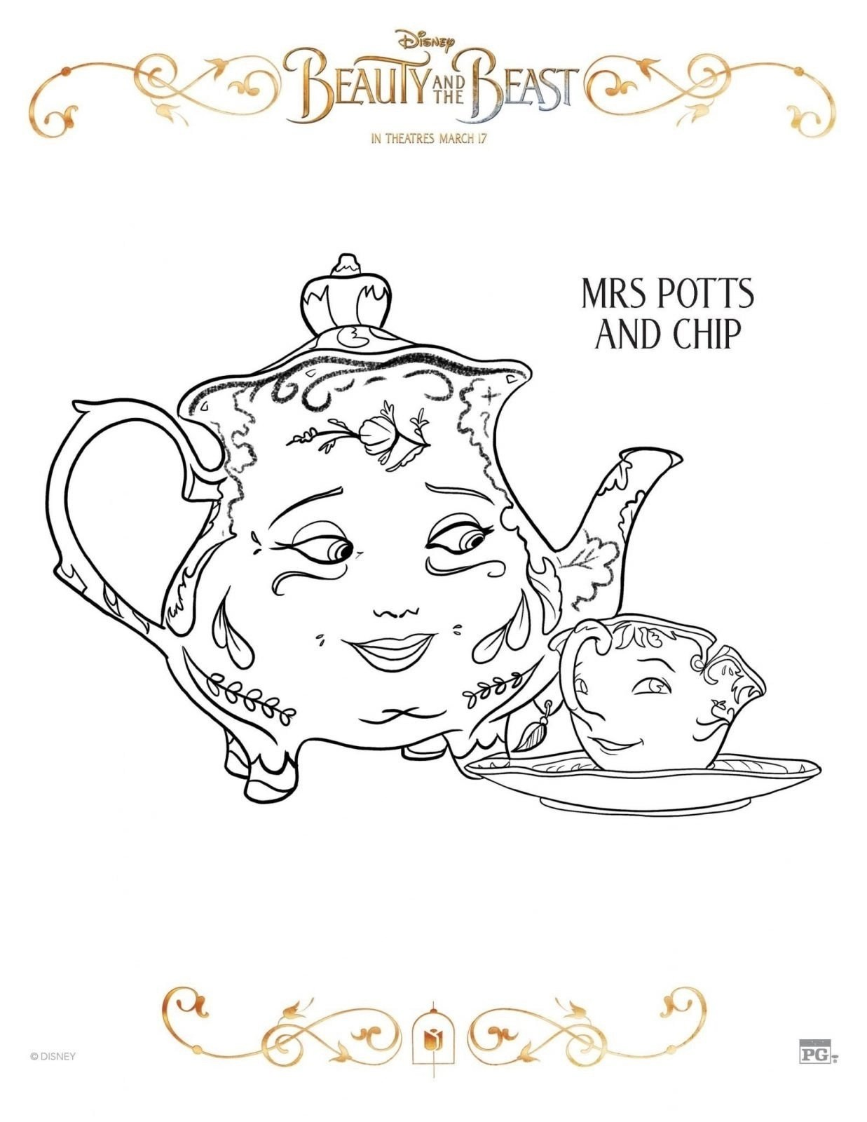 Mrs Potts and Chip Beauty and Beast Coloring Sheet