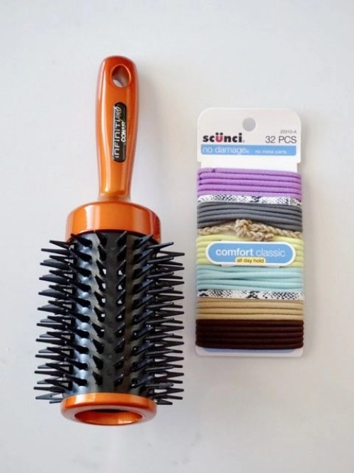 Conair Ultimate Root Booster Large Round Brush, Scünci no damage hair elastics