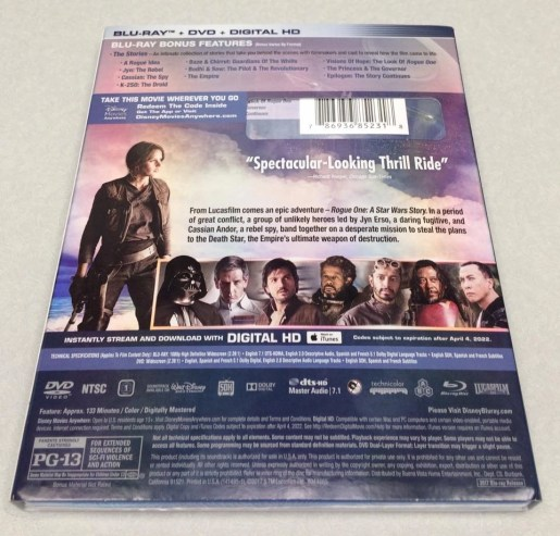 Stars Wars Rogue One DVD Back