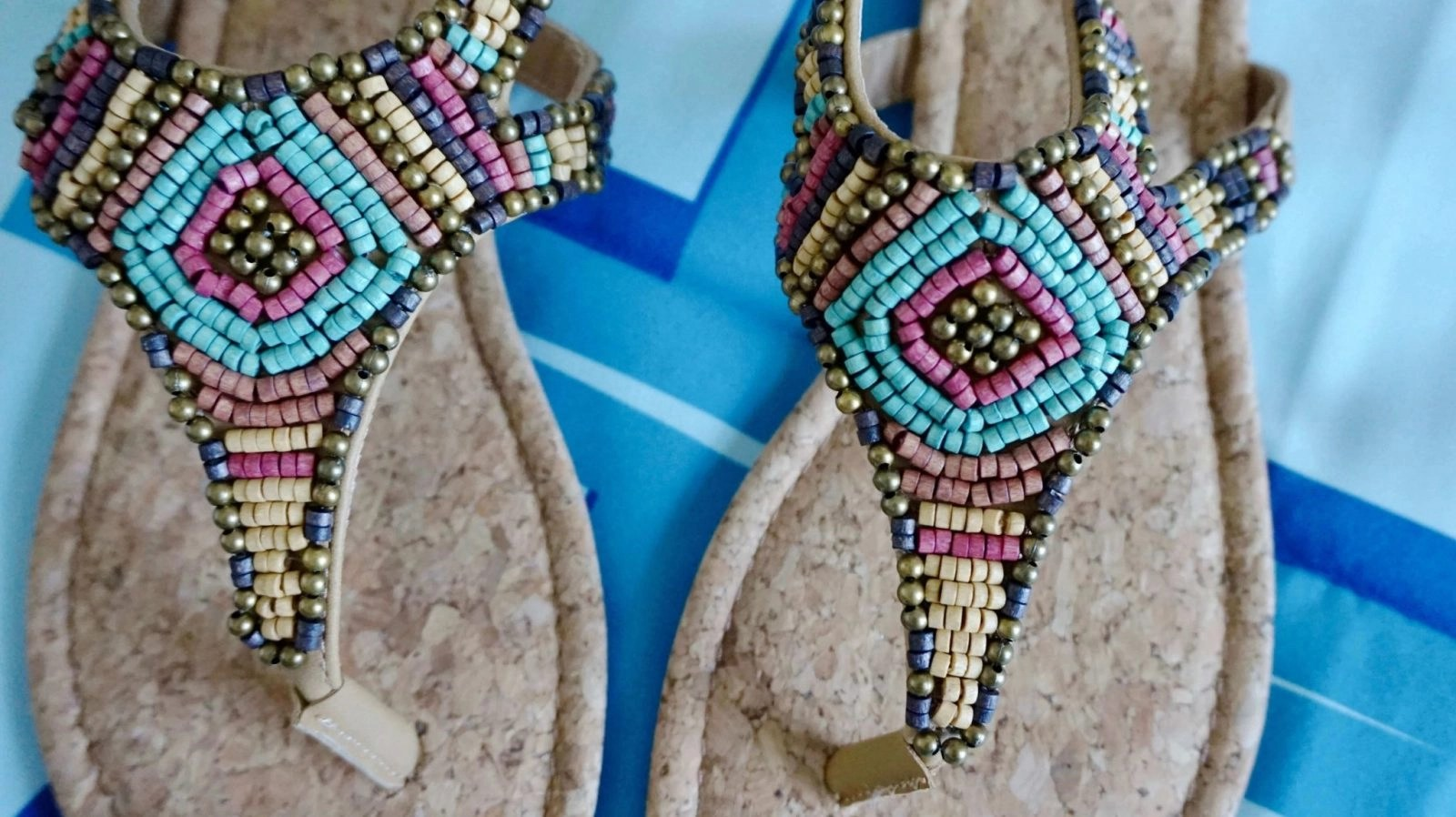 Sugar Trissie Flat Slingback Beaded Bohemian Thong Sandal details up close