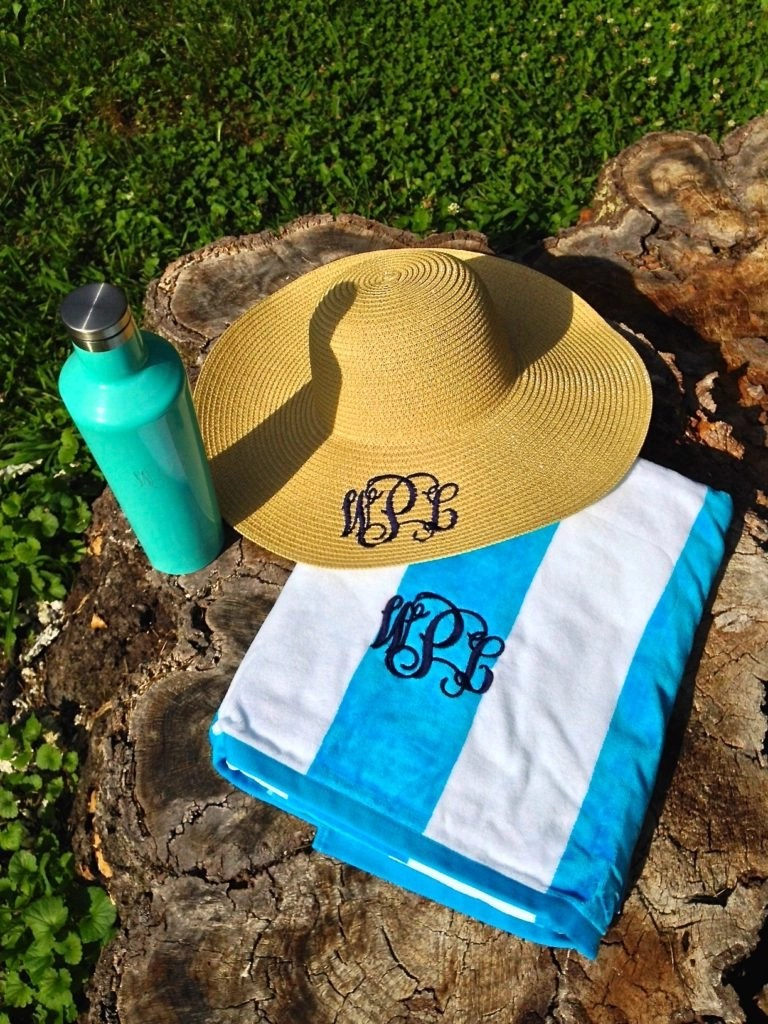 Things Remembered Personalized Products---Stainless Steel Canteen-Floppy Straw Hat-Striped Beach Towel