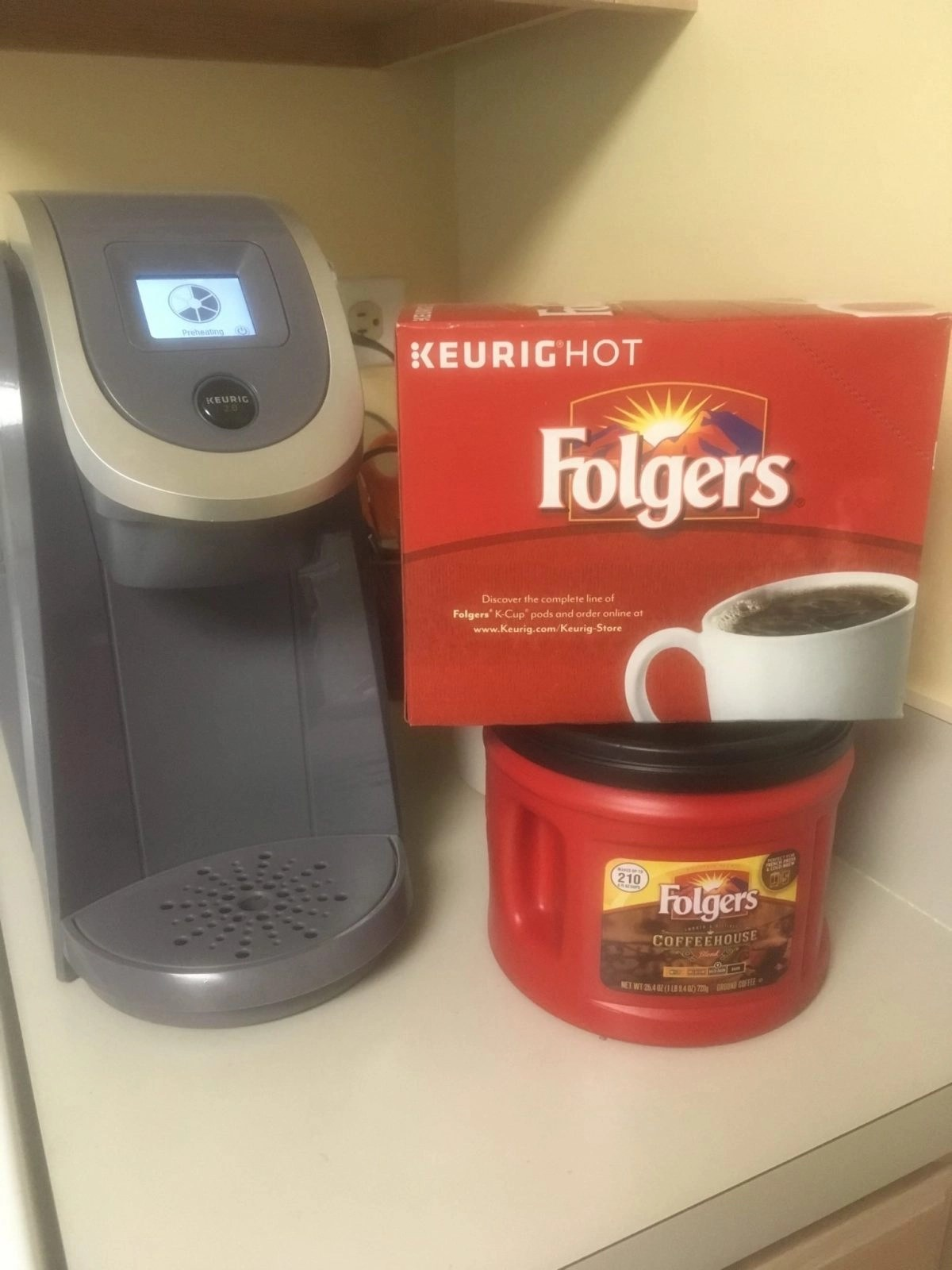 Folgers Coffee next to Keurig