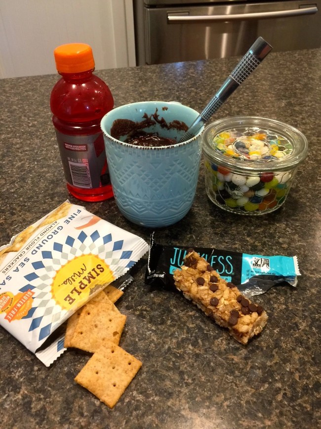 After School Snack Display-Betty Crocker Mug Treat-Simple Mills Fine Ground Sea Salt Almond Flour Crackers-Junkless Chewy Granola Bar-sports drink-jelly beans