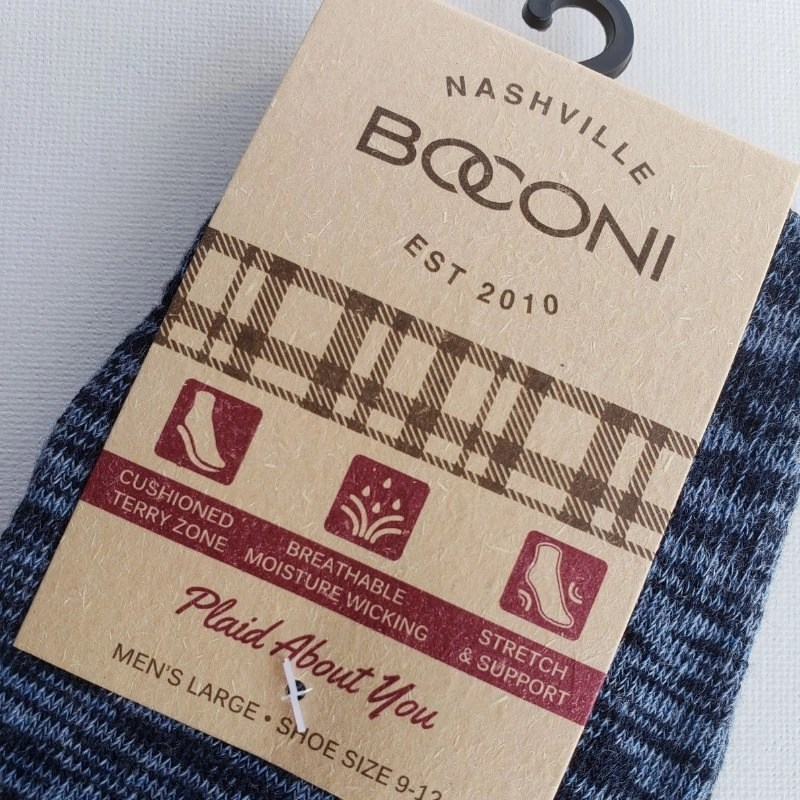 Boconi tag with grey socks attached