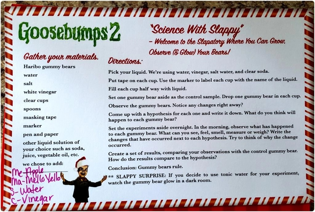Science with Slappy Goosebumps 2 directions