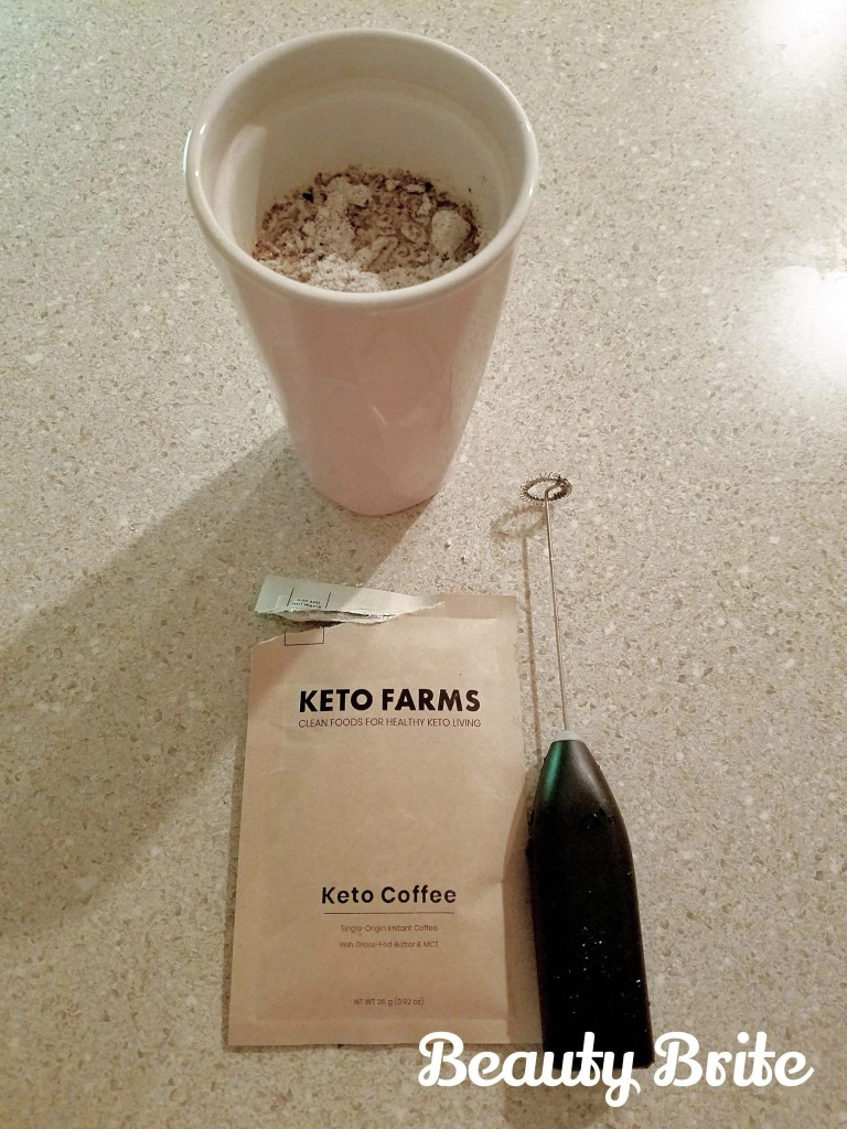 Keto Coffee in cup ready to blend
