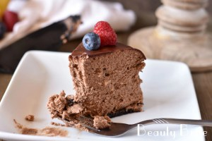 Enjoy Chocolate Cheesecake with fork