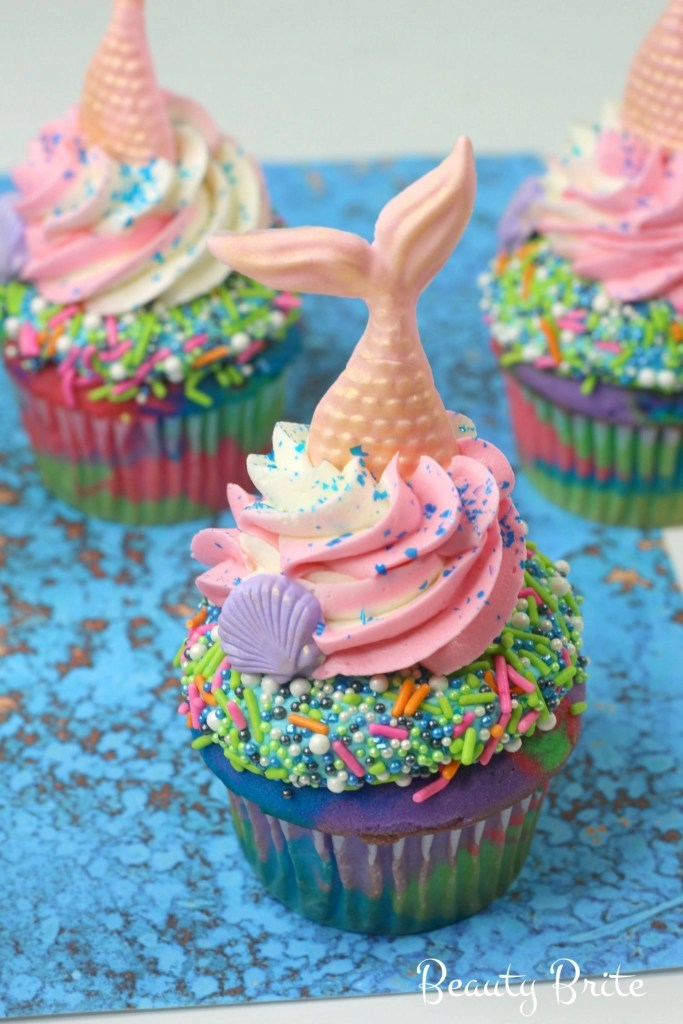 Mermaid Tail Cupcakes upclose