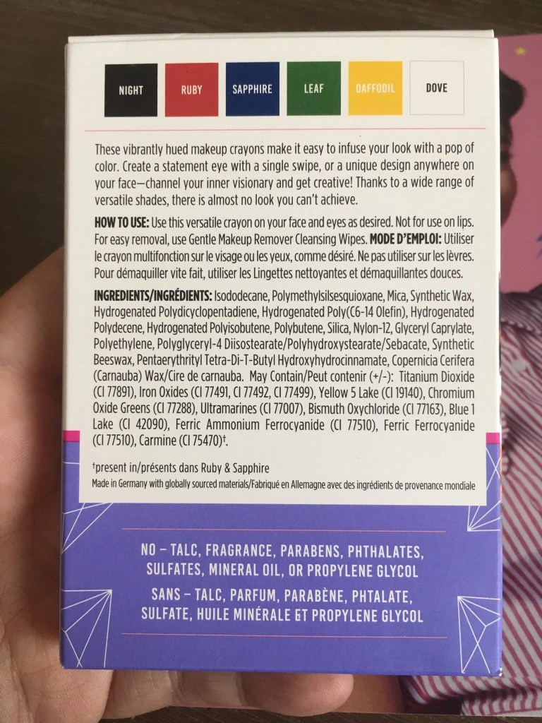 Visual Artist Makeup Crayon Set - The Back of Packaging