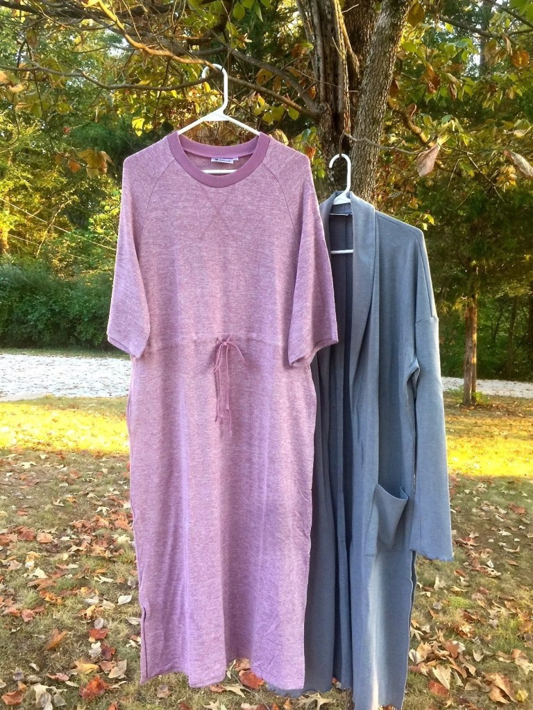 Fun Fall Fashion From Bollie Brand And Twice Shy - Bollie Brand Mauve Lounge Dress, Bollie Brand Heather Gray Lounge Cardigan