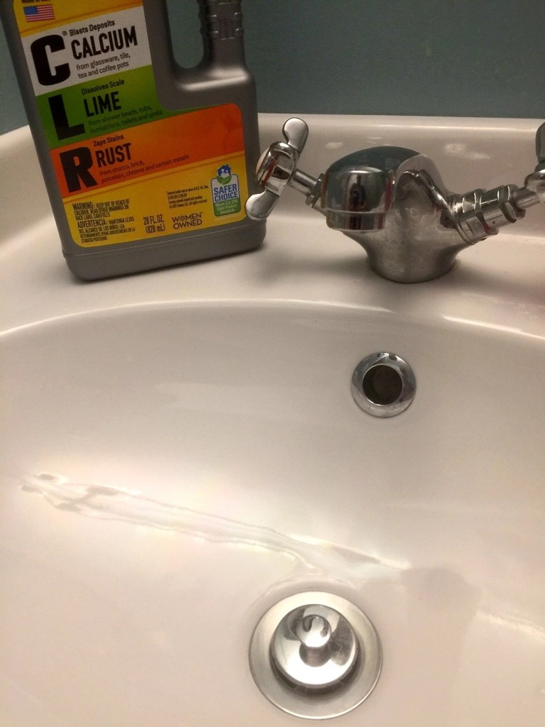 Bathroom sink after cleaning with CLR Calcium Lime & Rust cleaner. Eco-Friendly Cleaning From A Trusted Brand- CLR Stain Magnet & CLR Calcium Lime and Rust cleaner
