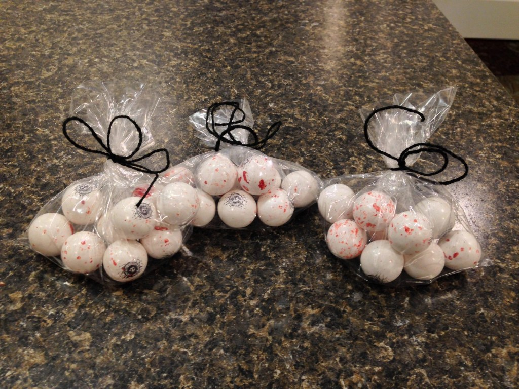 Halloween Treats - eyeball bubble gum treat bags