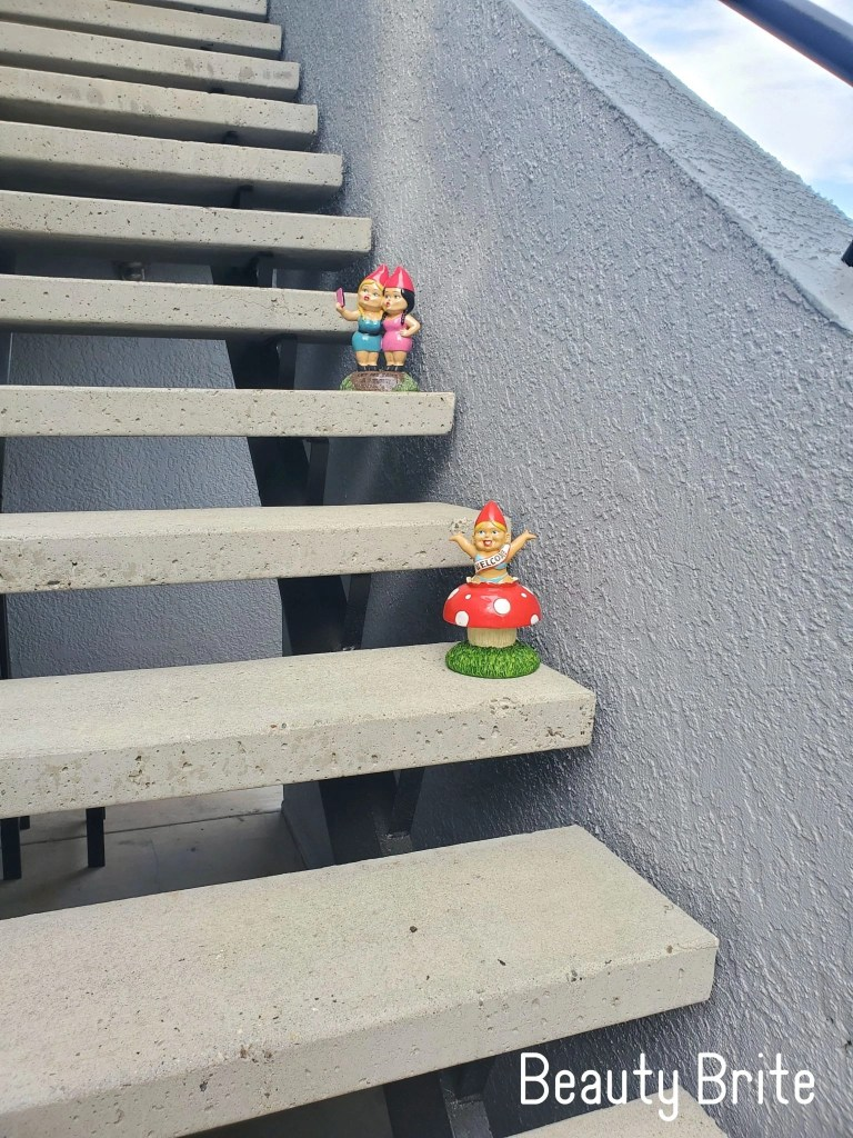 Selfie Sisters and Welcome Home gnomes on stairs