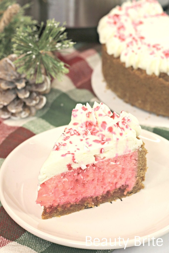 Instant Pot Candy Cane Cheesecake on display