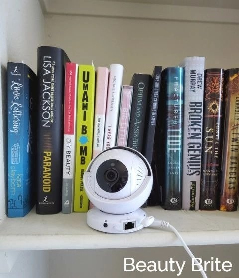 Invidyo Baby Monitor on bookshelf