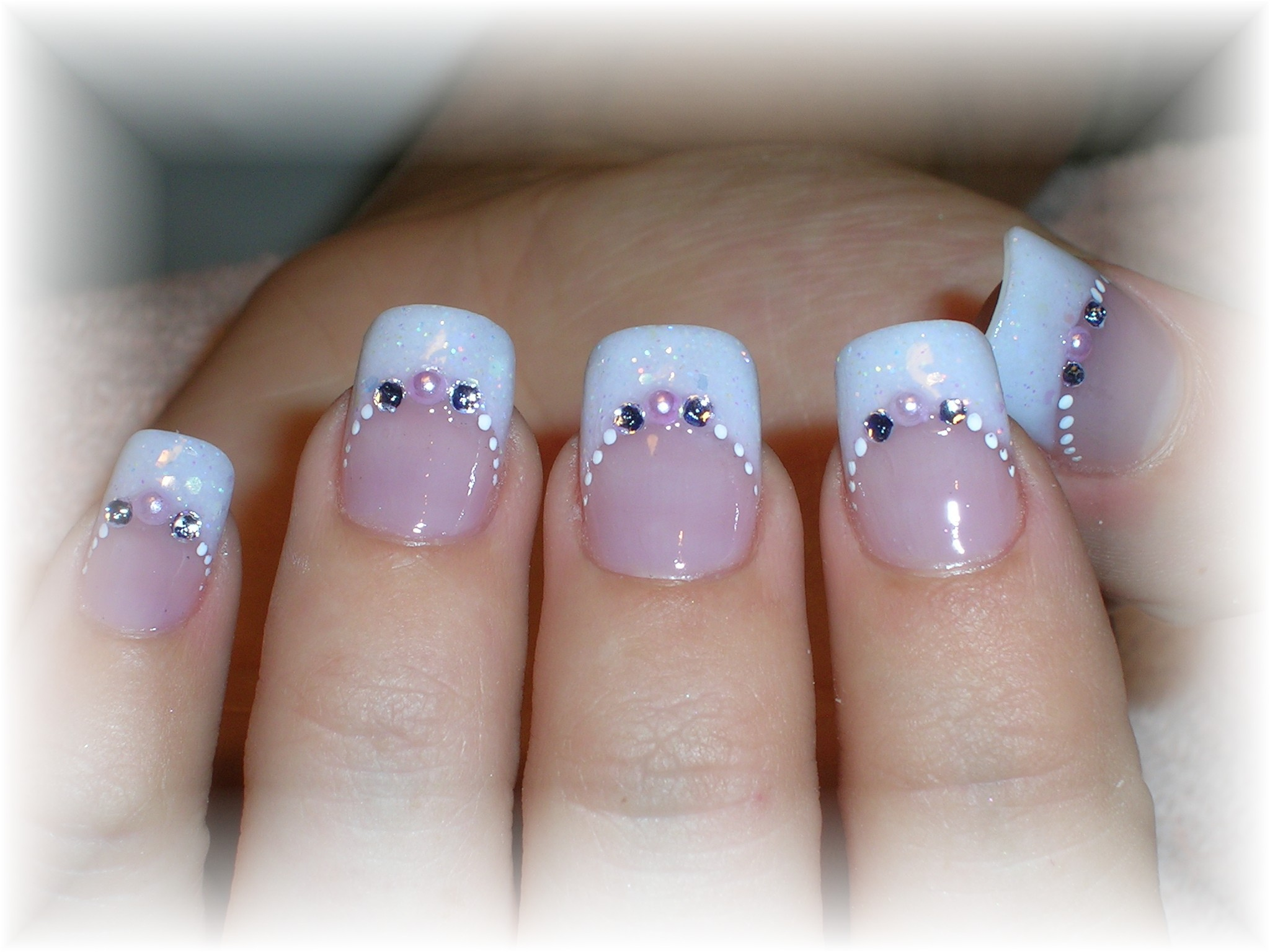 French Opal Glitter Tip With Rhinestones B Beautiful