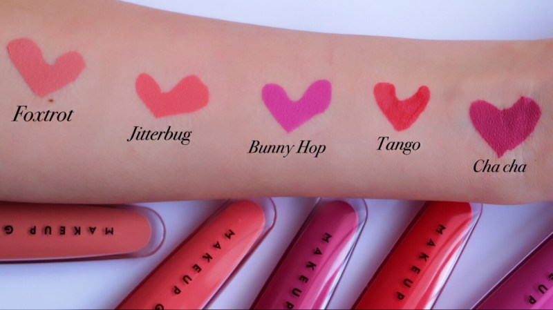 MakeupGeek Showstopper Creme Stain Review + Swatches. (left to right: Foxtrot; Jitterbug; Bunny Hop; Tango; Cha Cha)