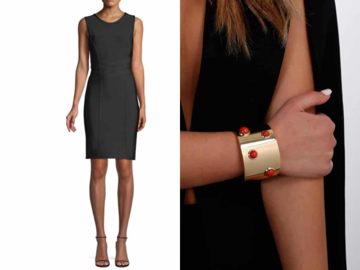 """""""5 Must-Have Dresses Every Woman Needs in their Closet"""" Herve Leger Ivett Stone Detail Dress // Saks Fifth Avenue  Fred of Paris Golden Cuff Bracelet // Opulent Jewelers"""