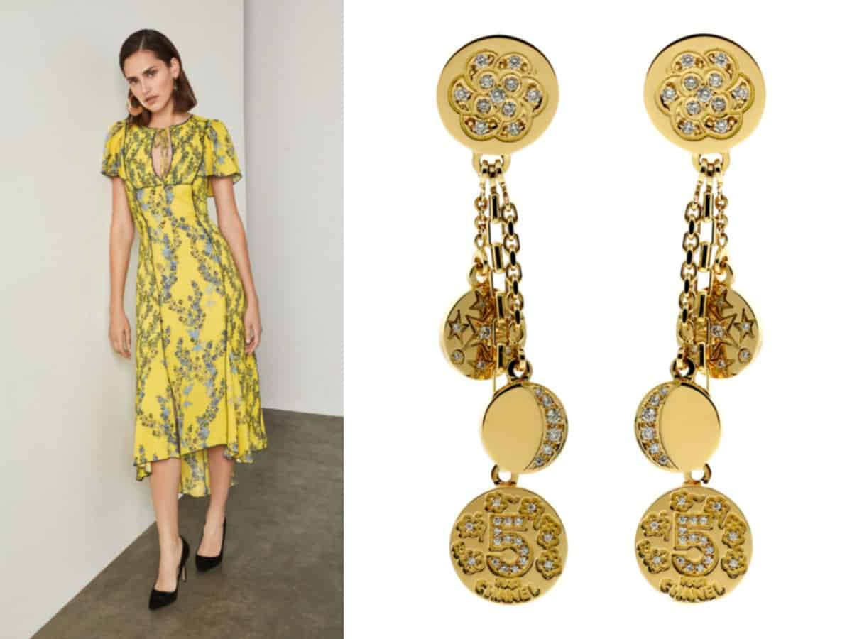 BCBGMAXAZRIA Floral Blooms High-Low Dress // BCBGMAXAZRIA Chanel Charm Diamond Gold Earrings // Opulent Jewelers