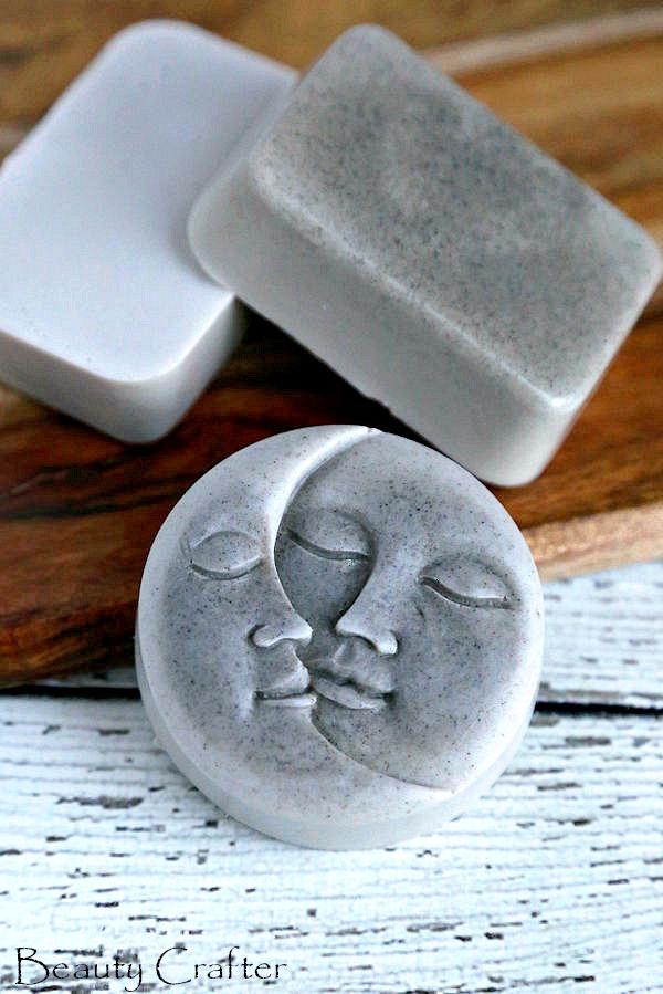 bentonite clay soap made in moon soap mold