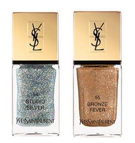 Лак для ногтей - YSL La Laque, Studio Silver, Bronze Fever