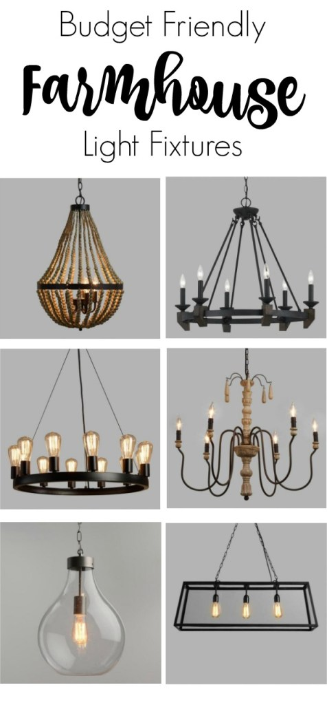 The best budget-friendly farmhouse lighting for your living room, dining room, bedroom and kitchen to give your the fixerupper look.
