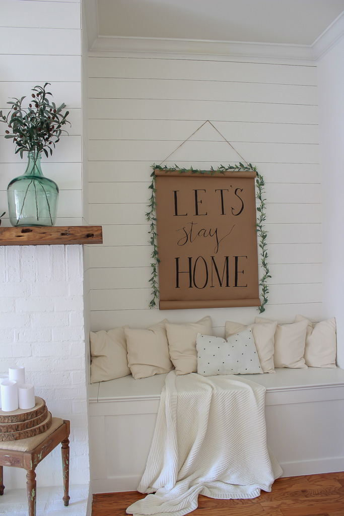 How to make a farmhouse scroll sign for less than $10. This is one of the easiest and cheapest DIYs you will ever do and it add such charm to your decor.