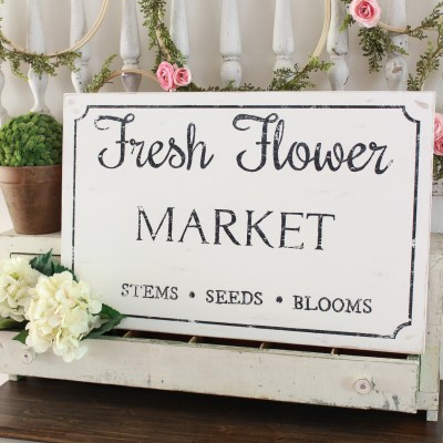 Fresh Flower Market Sign: Free Printable & Tutorial