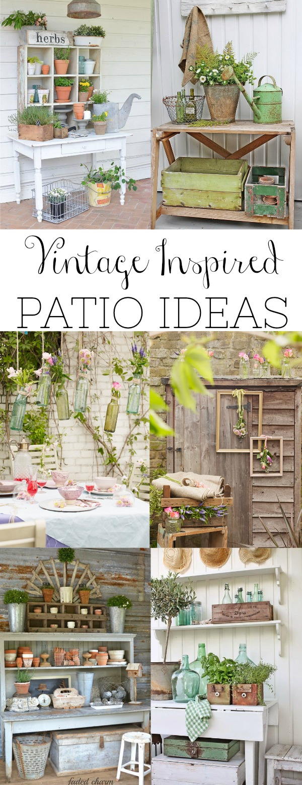 A round-up of the best vintage inspired patio ideas and the common elements used to create those spaces. Come along and be inspired by these lovely spaces.