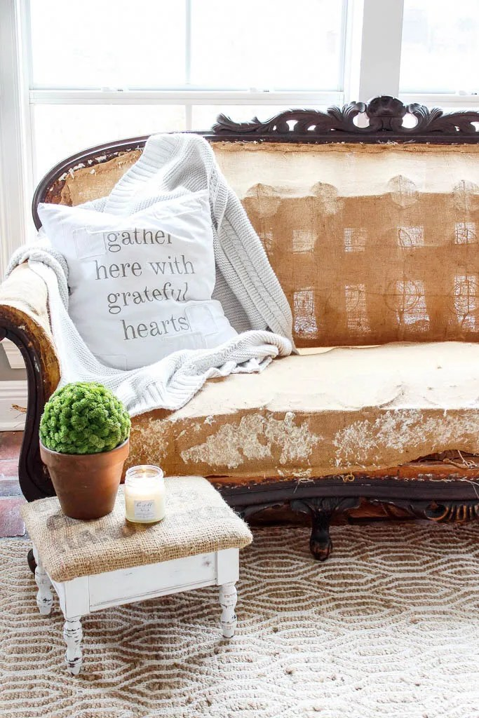 """A step by step tutorial for how to deconstruct a sofa. Starting from the initial purchase, to tearing it down to its """"bones"""" and recovering it for a deconstructed sofa look."""