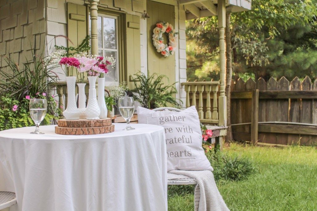 A vintage summer garden tour that includes ideas for a she shed and some budget friendly tips of how to add in lots of vintage decor and textures.