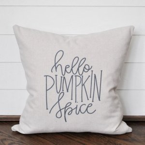 hello pumpkin spice pillow