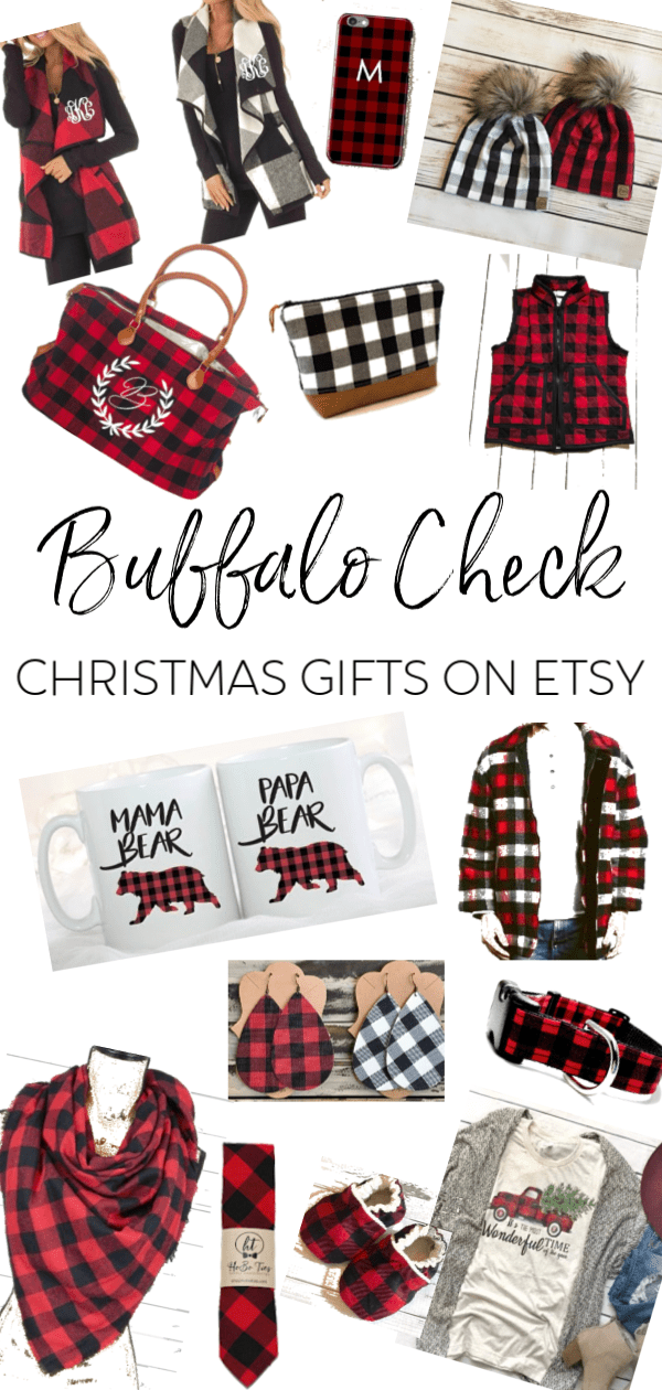 You won't believe all of the cute buffalo check Christmas items I found on Etsy!! I'm sharing a gift guide for the whole family! #buffalocheck #buffaloplaid #etsy #Christmasgifts