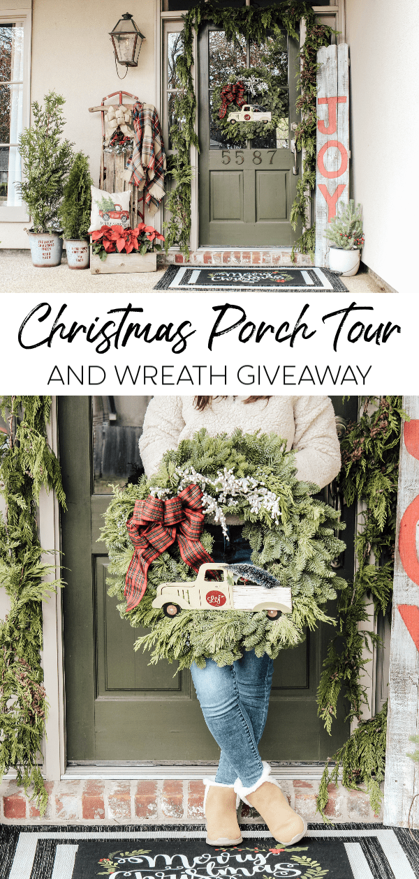 Come be inspired to create a simple Christmas porch that includes live evergreens, vintage touches, layered rugs and a fun wreath giveaway!