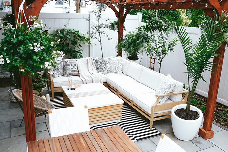 A bohemian style patio.
