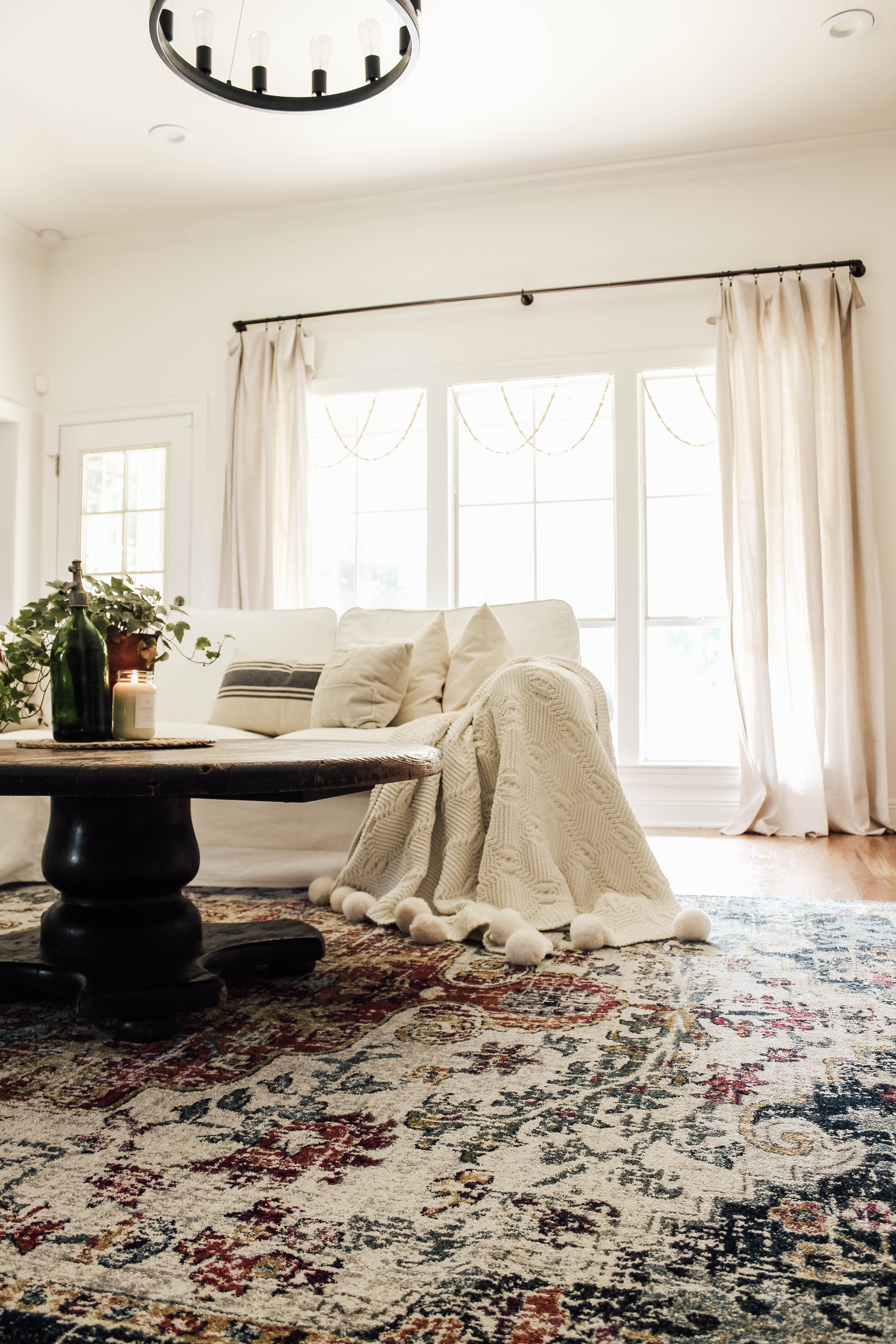 drop cloth curtains in living room