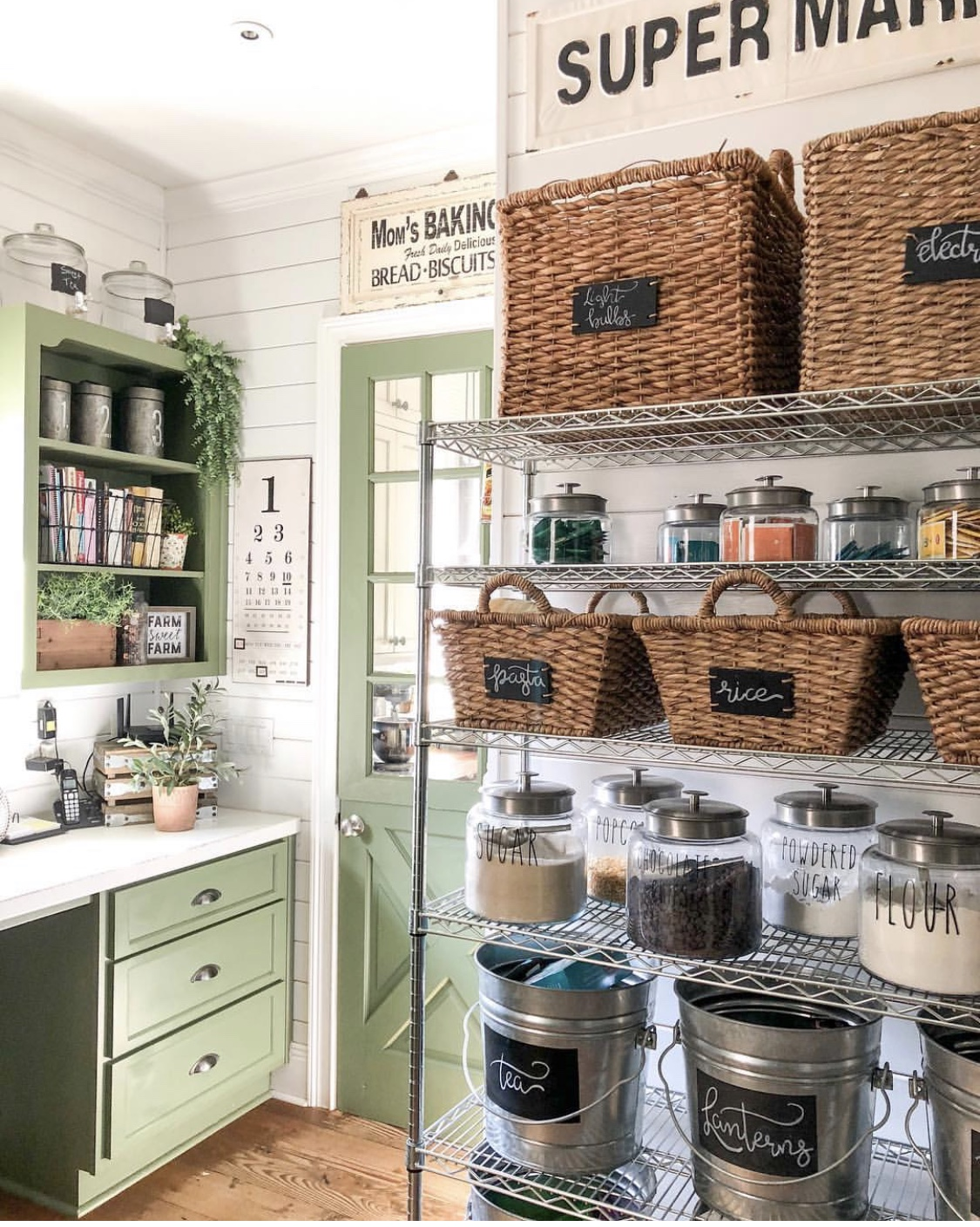 baker's rack used as pantry storage and organization