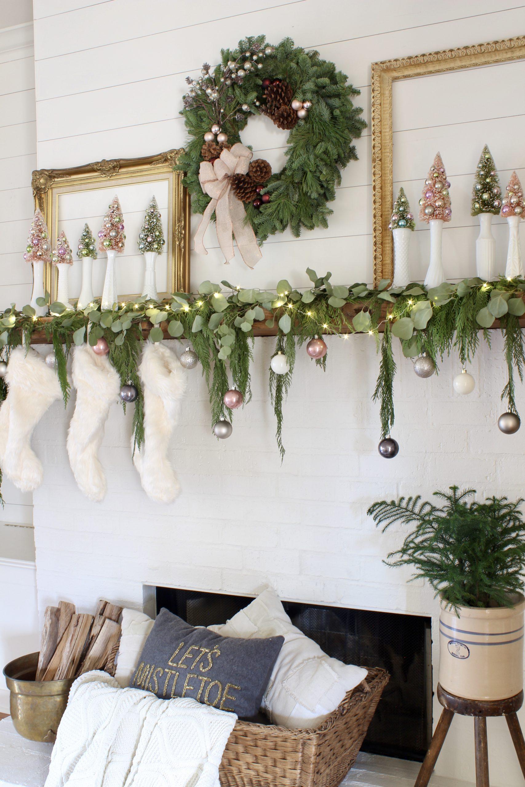 elegant styled Christmas mantel