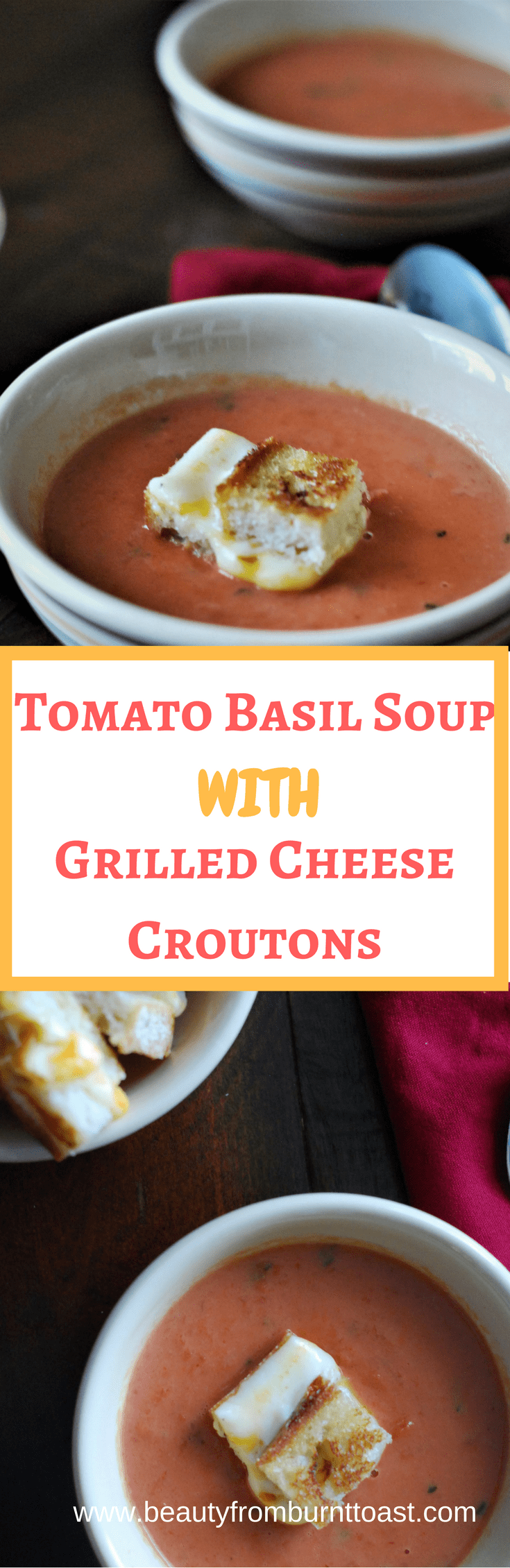 15 minute tomato basil soup with grilled cheese crouton