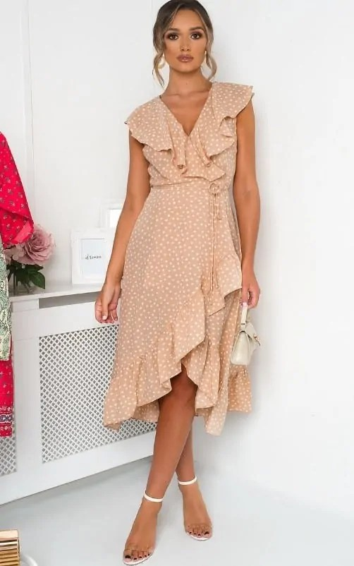 wedding beach polka dot dress