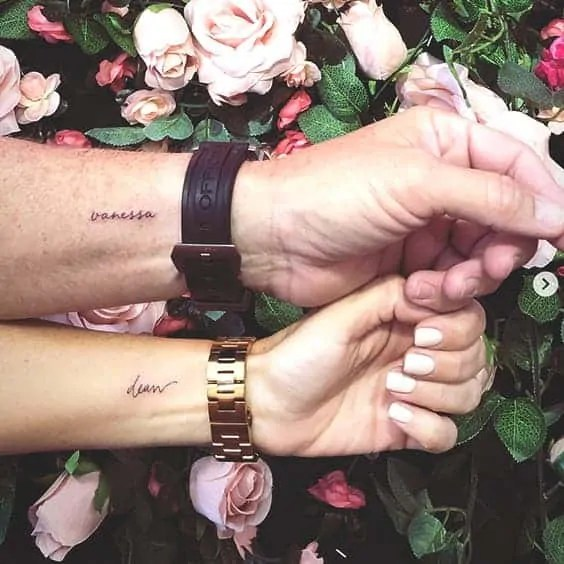 lover's name tattoo