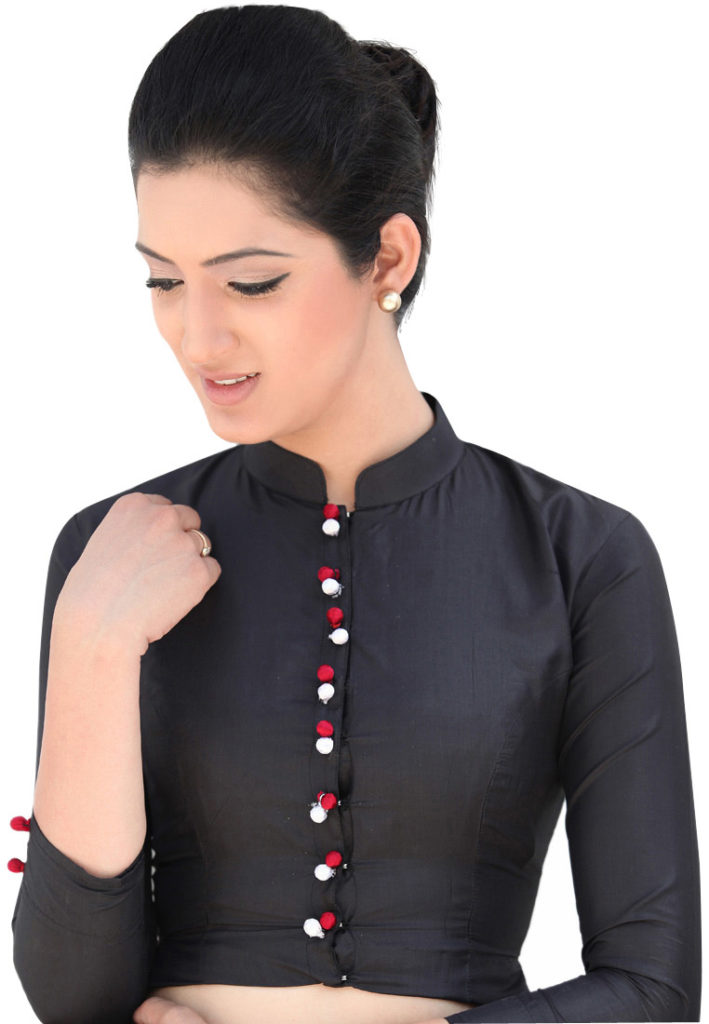 Black half collar full sleeve blouse 709x1024 Black Blouse With White Collar