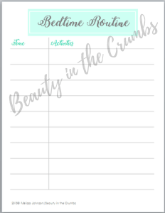 Download your free printable bedtime routine schedule