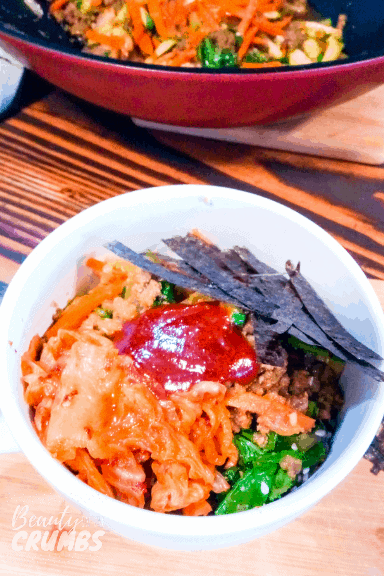 Healthy korean beef bibimbap bowl gluten free, dairy free, easy 30 minute meal