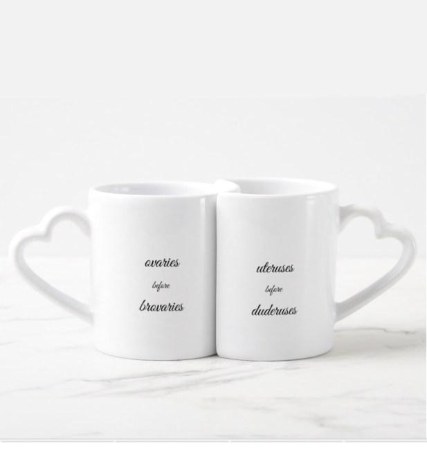Galentines day gifts ovaries before brovaries mug set | BeautyIsCrueltyFree.com